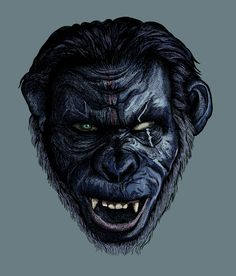 Illustration of Koba in Dawn of the planet of the apes Dawn Of The Planet, Planet Of The Apes, Gorilla Tattoo, Monkey Tattoos, Planet Tattoos, Fantasy Characters, Movie Characters, Graffiti, Horror Art