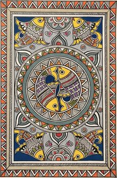 Madhubani Paintings Peacock, Kalamkari Painting, Madhubani Art, Indian Art Paintings, Abstract Paintings, Oil Paintings, Abstract Oil, Landscape Paintings, Gond Painting