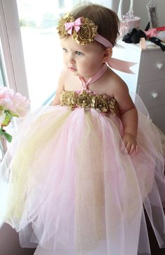 Gorgeous Pink and Gold Tutu Dress Shabby Chic by AverysCoutureLook