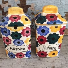 Colorful vintage German spice jars Allspice by MulfordCottage