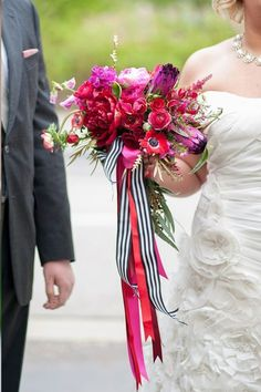 Love the white and black striped ribbon Amazing pink and red bouquet with anemones, peonies, sweet peas, ranunculus and more. Tied with a great black and white striped ribbon. Red Bouquet Wedding, Bride Bouquets, Bridesmaid Bouquet, Red Wedding, Floral Wedding, Wedding Flowers, Fantasy Wedding, Cake Wedding, Striped Wedding