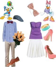 """Donald And Daisy Duck"" go with more original colors tho. Duck Costumes, Halloween Costumes, Halloween Ideas, Daisy Costume, Twin Birthday, Birthday Ideas, Disney Outfits, Disney Fashion, Donald And Daisy Duck"