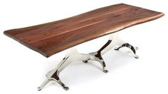 """Live Edge Table with Tree of Life Base, 108"""" X 48"""" - modern - Dining Tables - Woodland Creek Furniture"""