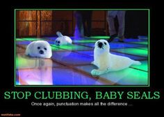 Stop clubbing, baby seals! Once again punctuation does make a difference.  (By motifake.com)