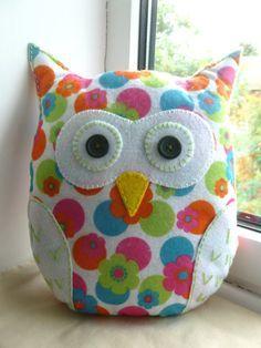 Handmade Felt Owl Pillow - Lavender Scented