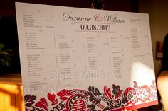 SUZANNE + WILLIAM seating chart, damask & double happiness