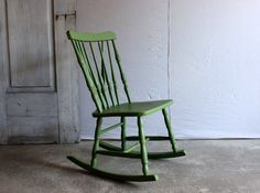 vintage child's rocking chair small wooden rocker painted green bedroom kitchen furniture by umbrellafant on Etsy