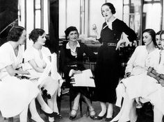 * Coco Chanel with Lady Pamela Smith and a circle of young society women at a fitting session at the London Chanel salon, 1932.