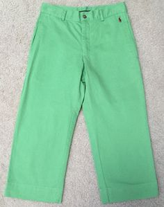 *RALPH LAUREN SPORT* Women's Green Cropped Capri Pants 4 Embroidered Red Pony  | eBay