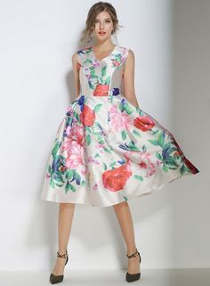 V Neck Floral Print High Waist A-line Midi Dress