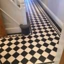 Tile shop in Derby supplying slate, marble, mosaic, porecelain, terracotta and victorian tiles for bathrooms and kitchens Black Laminate Flooring, Hall Flooring, Vinyl Flooring, Tiled Hallway, Hallway Ideas Entrance Narrow, Entryway, Victorian Tiles Bathroom, Porch Tile, Victorian Terrace House