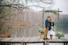 Lakeside wedding ceremony | Irinia Kilmova Photography | see more on: http://burnettsboards.com/2015/03/winter-forest-wedding/
