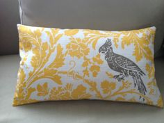 Yellow and taupe parrot cushion COVER ONLY (without feather inner) Yellow Cushion Covers, Yellow Cushions, Throw Pillow Covers, Throw Pillows, Tropical Birds, Pillow Forms, Home Decor Items, Accent Pillows, Decorative Pillows