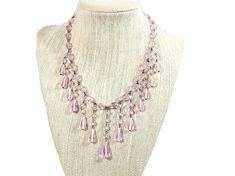Art Deco Pink Crystal Bib/ Fringe Necklace, Glass Briolette Waterfall Choker, Vintage Wedding Bridal Pink Necklace, Fringe Necklace, Necklace Lengths, Crystal Beads, Crystals, Ribbon Wrap, Star Art, Art Deco Era, Pretty Art