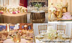 """Pour une décoration de réception de mariage dorée pailletée au top, n'oubliez pas de prendre soins des détails de vos tables !  En y rajoutant des lettres en bois dorées pailletées formant le mot """"Mr & Mrs"""" ou encore le mot """"Love"""" sur vos magnifiques nappes dorées pailletées ou chemins de tables ! Et puis, en détaillant votre Wedding Cake d'accessoires or pailletée comme un sujet acrylique, des rubans etc...  #detailsmariagedorepailletes #weddingcakeor #lettresenboisorpailletés…"""