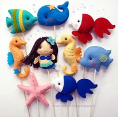 The Mermaids with Under the Sea Friends, Custom Made Party Favors, Cake Topper, Beach Party decor, Baby Shower, Birthday, Wedding Cake Toper