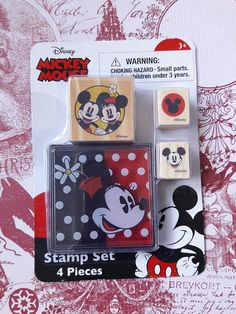Mickey & Minnie Mouse Rubber Stamp Set With Ink Pad