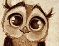 Little Owl Doodles Sketch / Drawing . Adorable!!