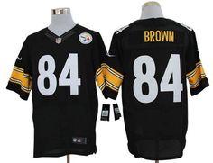 Nike Steelers #84 Antonio Brown Black Team Color Mens NFL Elite Jersey