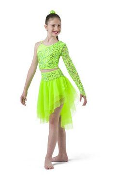 Iridescent sequin lace over spandex crop with front lining and elastic midriff. Separate hi-rise spandex short with attached tiered soft tricot cascade skirt with sequin sash and elastic waistband. Made in the USA. Fabric headpiece included SC / IC / MC / LC / XLC SA / MA / LA / XLA 18221-58 Peacock 18221-60 White 18221-61 Yellow 18221-70 Coral 18221-91 Flo-Lime