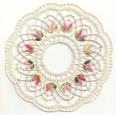 Napperon en Cluny (fin) Shawl Crochet, Thread Crochet, Crochet Yarn, Lace Patterns, Knitting Patterns, Crochet Vintage, Lace Bag, Bobbin Lacemaking, Chevron