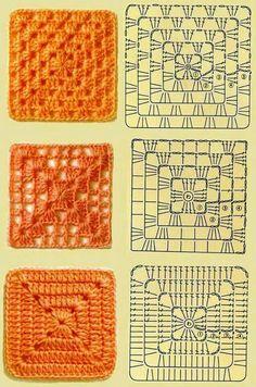 Tipos de granny a crochet con diagrama
