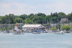 Niagara-on-the-Lake Sailing Club with a Whirlpool Jet Boat cruising by heading for home.
