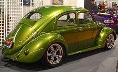 Green VW oval Window Beetle