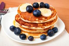 Your family will love these whole grain pancakes.This recipe for healthy banana blueberry pancakes is a great energy booster, and contains additional fiber and potassium.