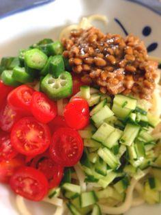 冷やしうどん (Hiyashiudon) Chilled Udon Noodles with Natto