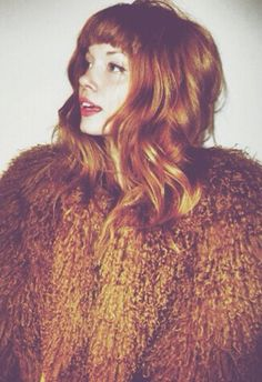 Heavily filtered photo, but I like the hair color. // Dark Orange Coat #beauty #hair