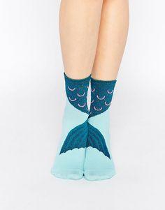 Bild 1 von ASOS – Knöchelsocken mit Meerjungfrauenschwanzmotiv