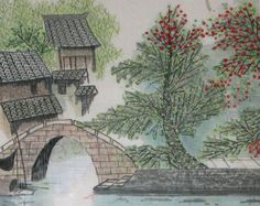 This is hand embroidery landscape painting with colour silk threads.it s very traditional chinsee style painting and showed water village true life in the south china.    Embroidry size is approx 15 x15,the embroidery piece is mounted on a wood panel, the price above is for the embroidery piece and you can find match your favorite frame local.  I only accept paypal  Please read shop policies before completing your purchase. http://www.etsy.com/shop/handmadeembroidery51/policy