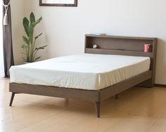 北欧テイスト棚・コンセント付きシングルベッド/Mob マットレス付き  bed  #家具