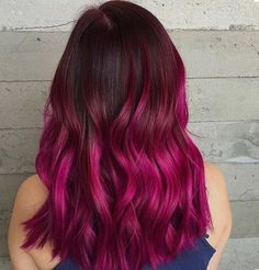 Black to magenta ombré hair