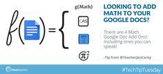 #TechTipTuesday: 4 Math Add ons for Google Docs #mathchat #mschat #ettgoogle