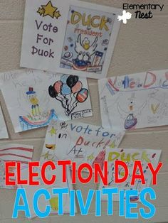 Election Day Activities for primary students- hands on crafts and a mock election for different book characters Student Teaching, Primary Teaching, Teaching Resources, Teaching Ideas, Kindergarten Writing, Kindergarten Activities, Native American Heritage Month, Common Core Curriculum, Social Studies Activities