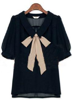 navy lapel bow blouse.