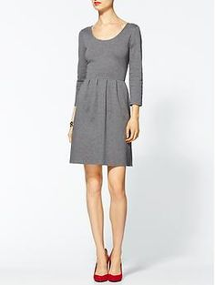 Long Sleeve Bleecker Mini Grey with Red shoes - yes, yes, definitely. Fabulous Dresses, Dresses For Work, Winter Wedding Outfits, Stitch Fix Dress, Pretty Outfits, Pretty Clothes, Everyday Dresses, Get Dressed, I Dress