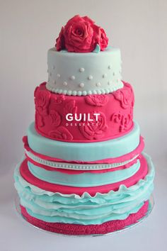 Tiffany Blue - Rose Birthday Cake. #tiered #wedding #party #cake #ideas #inspiration #design #event #birthday #floral #ruffles #pink #blue