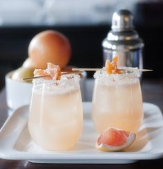 Candied Grapefruit Cocktail - Gin, Grapefruit Juice, Agave , Candied Grapefruit Peels (Recipe), Cayenne, Grapefruit Wedge and Sugar for Rimming.
