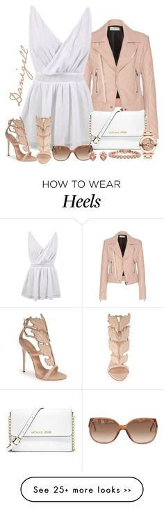 """Leather jacket"" by danigrll on Polyvore featuring Balenciaga, Giuseppe Zanotti, MICHAEL Michael Kors, Movado, Eddie Borgo and Henri Bendel"