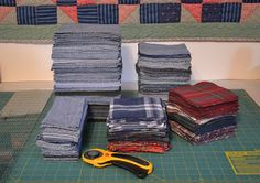 Recycle Jeans to Make a Quilt; cut off seams (save to make coasters); recommended that the jeans be cut into 7 and 5 inch squares and 3x7 rectangles