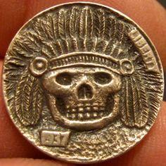 GORDON RAISTRICK HOBO NICKEL - CHIEF BONES - 1937 BUFFALO NICKEL American Coins, Native American, Hobo Nickel, Folk Art, Carving, Buffalo, Bones, Skull, Facebook