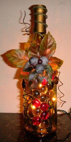 wine bottle lights   Light Green Wine Bottle Light embellished with Glass Gems, Leaves, and ...