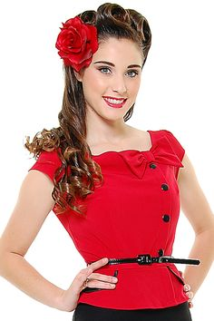 Stop Staring 40's Style Red And Black Park Place Suit Style Wiggle Dress