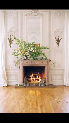 fireplace + bouquet