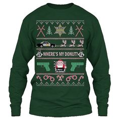 "Be the talk of the Christmas party with this ""Ugly Christmas Sweater"" Long Sleeve Tee - Sheriff version."