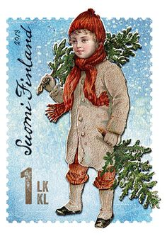 Christmas postage stamp Finland by Ari Lakaniemi, Susanna Rumpu, Finland. Kitsch, Pocket Letter, Pop Art, Going Postal, Love Stamps, Vintage Stamps, Nouvel An, Fauna, My Stamp