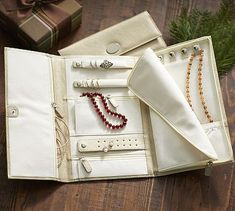 McKenna Leather Travel Jewelry Portfolio--potterybarn | Make traveling and packing jewelry simple and easy!